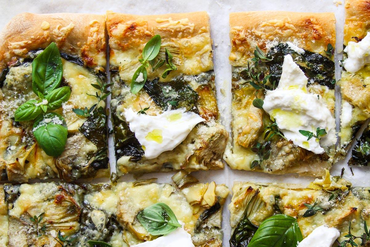 Easy spinach artichoke pizza recipe