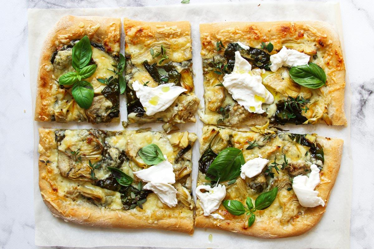 Quick spinach artichoke pizza recipe